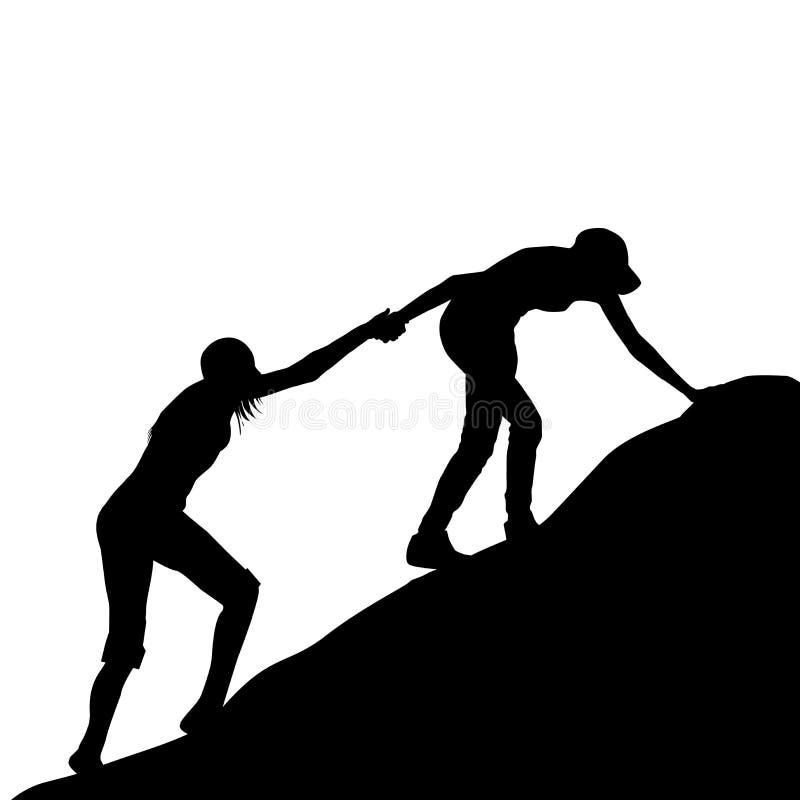 Menina que dá a mão amiga a seu amigo para escalar acima a última seita ilustração do vetor