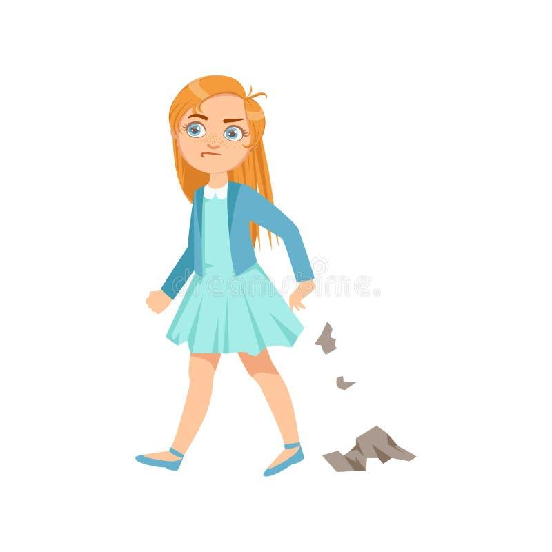 Menina que desarruma a intimidação adolescente que demonstra a ilustração incontrolável perniciosa dos desenhos animados do compo ilustração stock