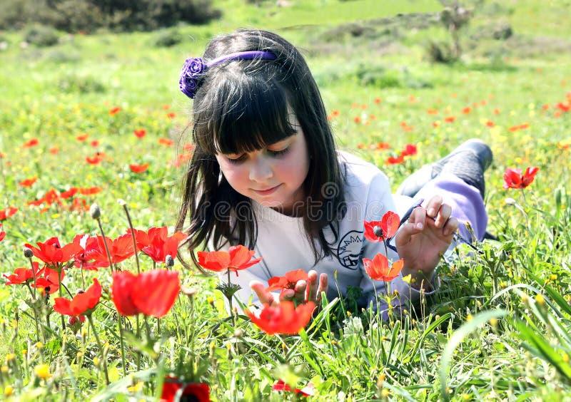 Menina que encontra-se em um prado fotografia de stock