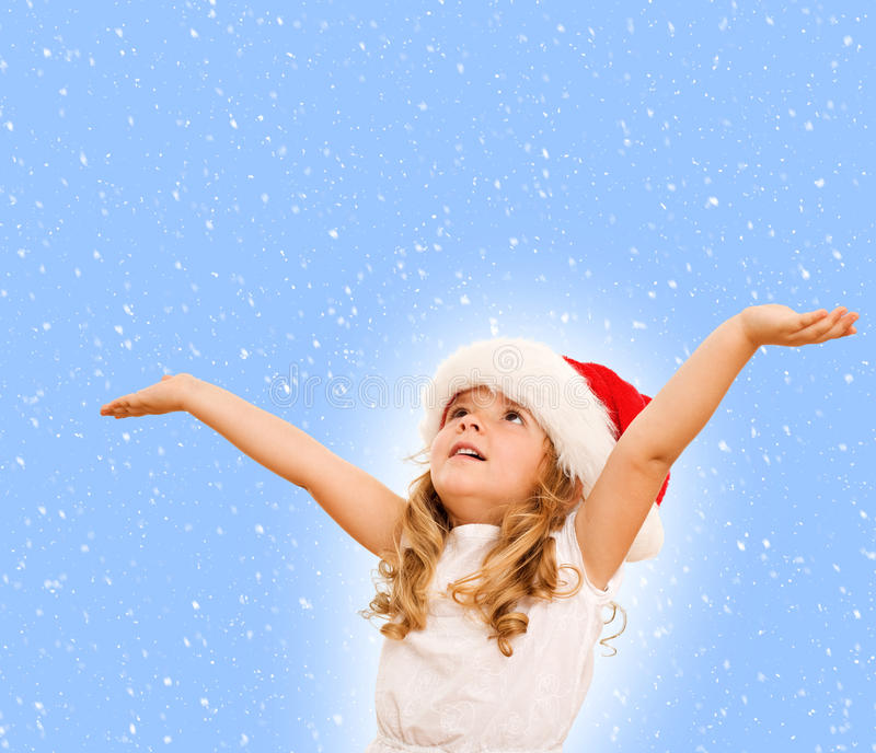 Menina que espera o Natal imagem de stock