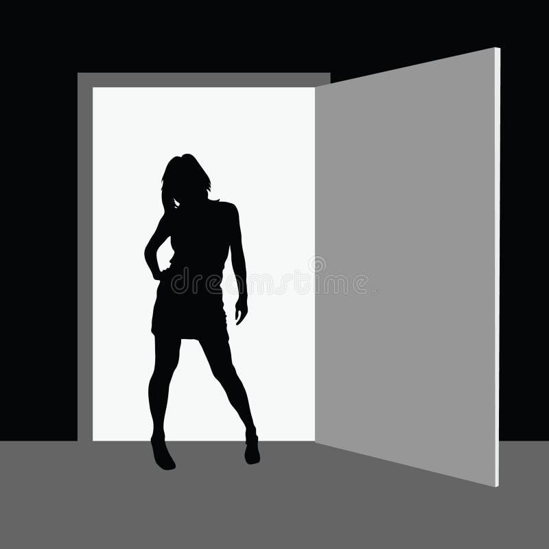 Menina que está na frente da sala ilustração stock