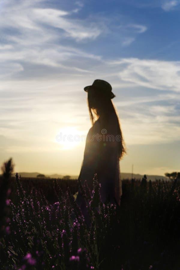 Menina que está no campo da alfazema fotografia de stock