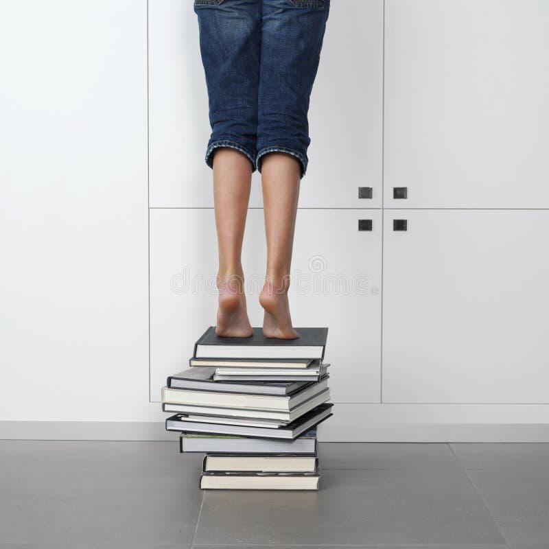 Menina que está sobre uma pilha de livros imagem de stock royalty free