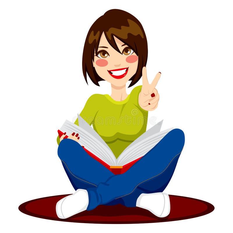Menina que estuda exames ilustração royalty free