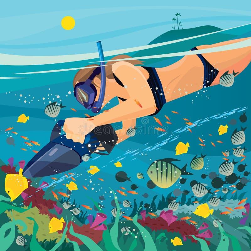 Menina que explora o mundo subaquático ilustração royalty free