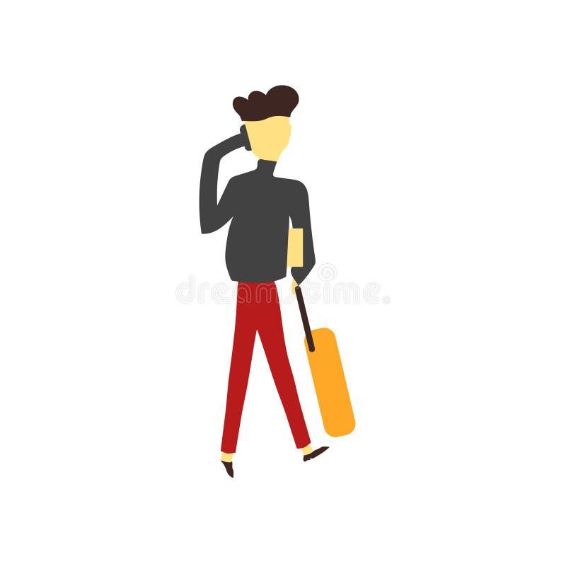 Menina que fala no sinal e no símbolo do vetor do vetor do telefone isolados no fundo branco, menina que fala no logotipo do veto ilustração do vetor