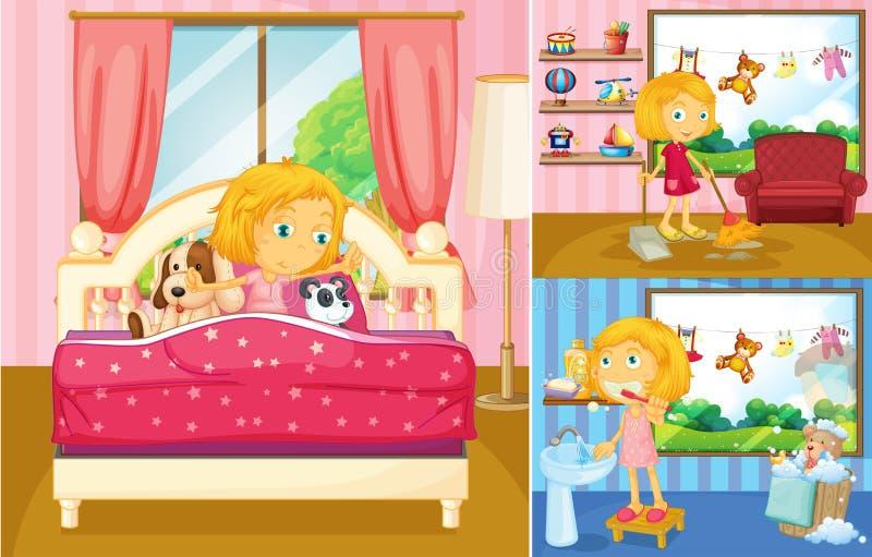 Menina que faz atividades diferentes em casa ilustração do vetor