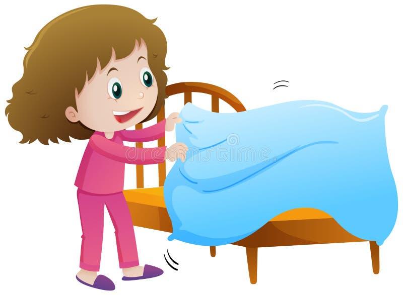Menina que faz a cama ilustração royalty free
