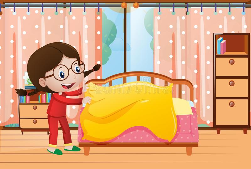 Menina que faz a cama no quarto ilustração do vetor