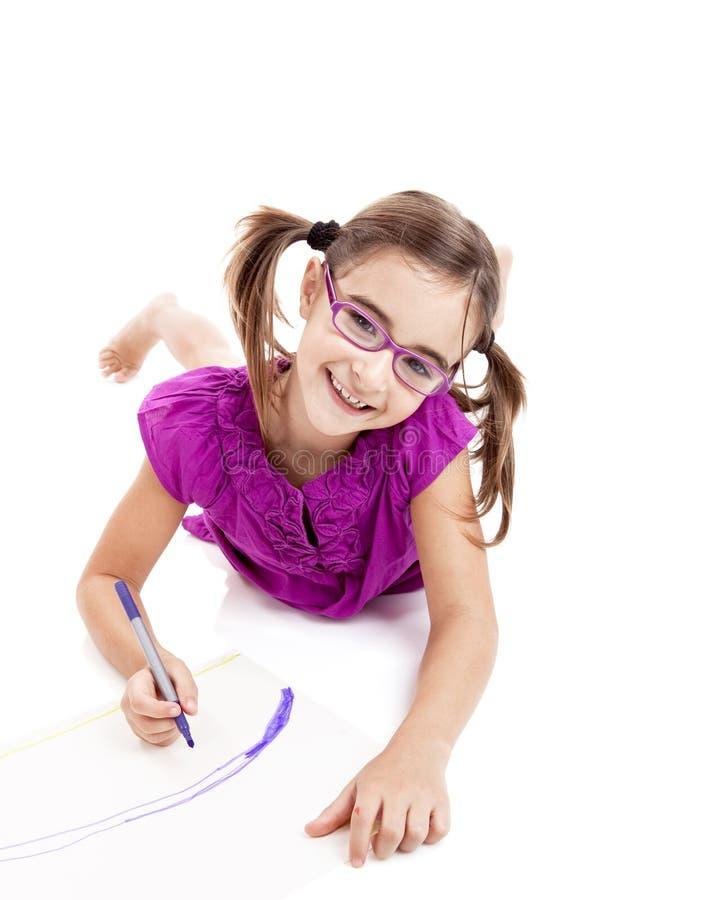 Download Menina que faz desenhos imagem de stock. Imagem de papel - 16872953