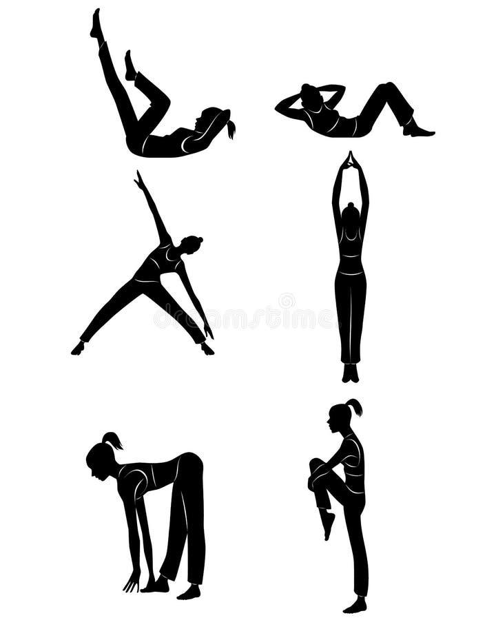 Menina que faz exercícios ilustração stock