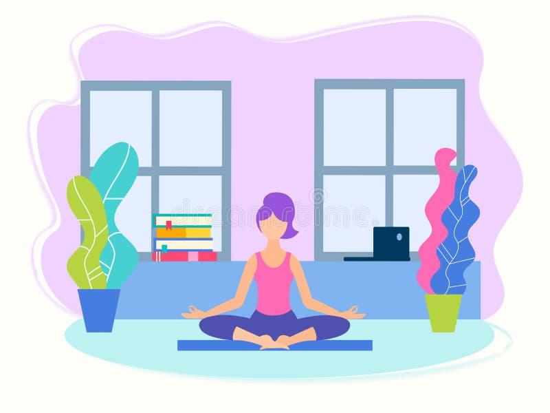 Menina que faz a ioga na posição de Lotus em casa ilustração stock