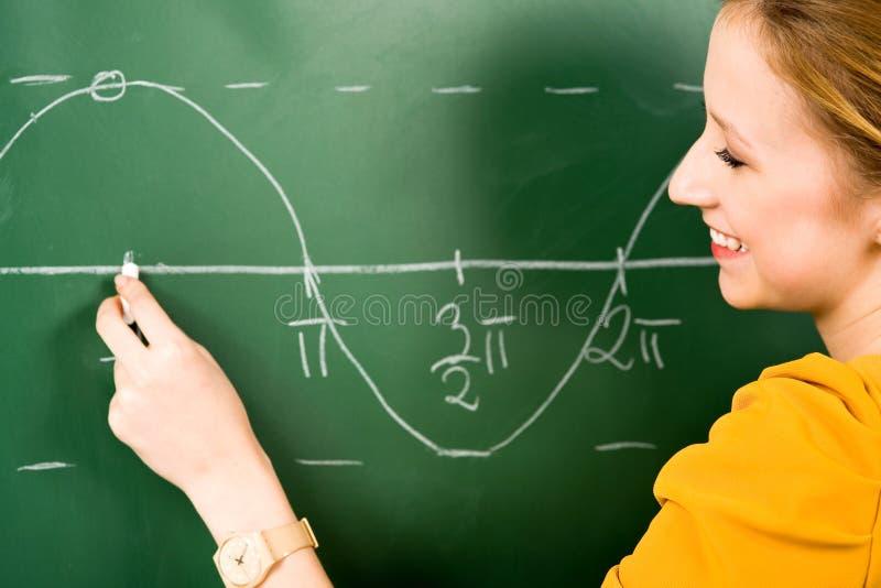 Menina que faz a matemática no quadro fotografia de stock