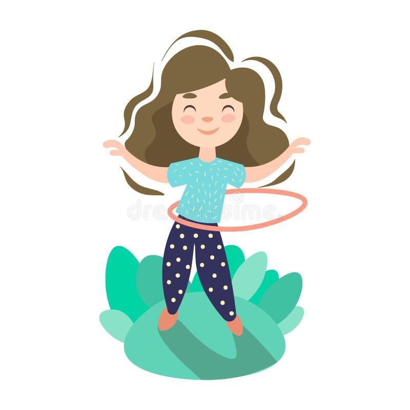 A menina que faz o exercício com aro, crianças do verão ostenta o jogo e o equipamento ilustração stock