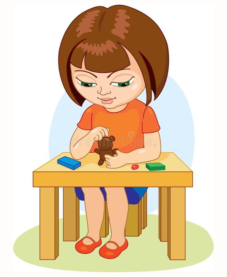A menina que faz o plasticine figura a ilustração dos desenhos animados no fundo branco ilustração stock