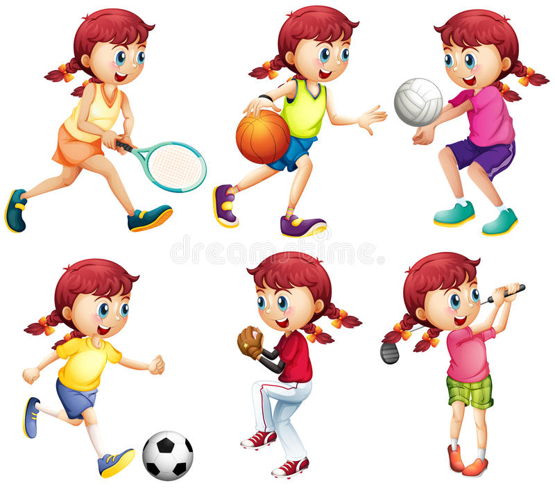 Menina que faz o tipo diferente de esportes ilustração do vetor