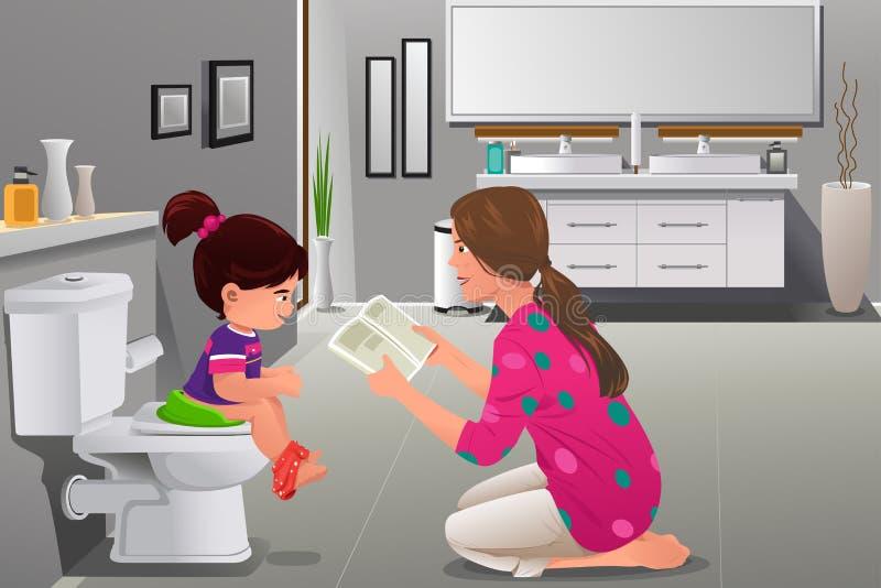 Menina que faz o treinamento do urinol com sua observação da mãe ilustração stock
