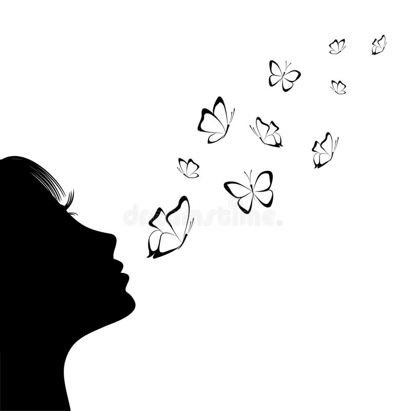 Menina que funde em borboletas Silhueta ilustração stock