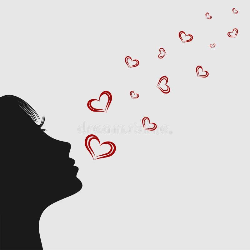 Menina que funde em corações Silhueta ilustração do vetor
