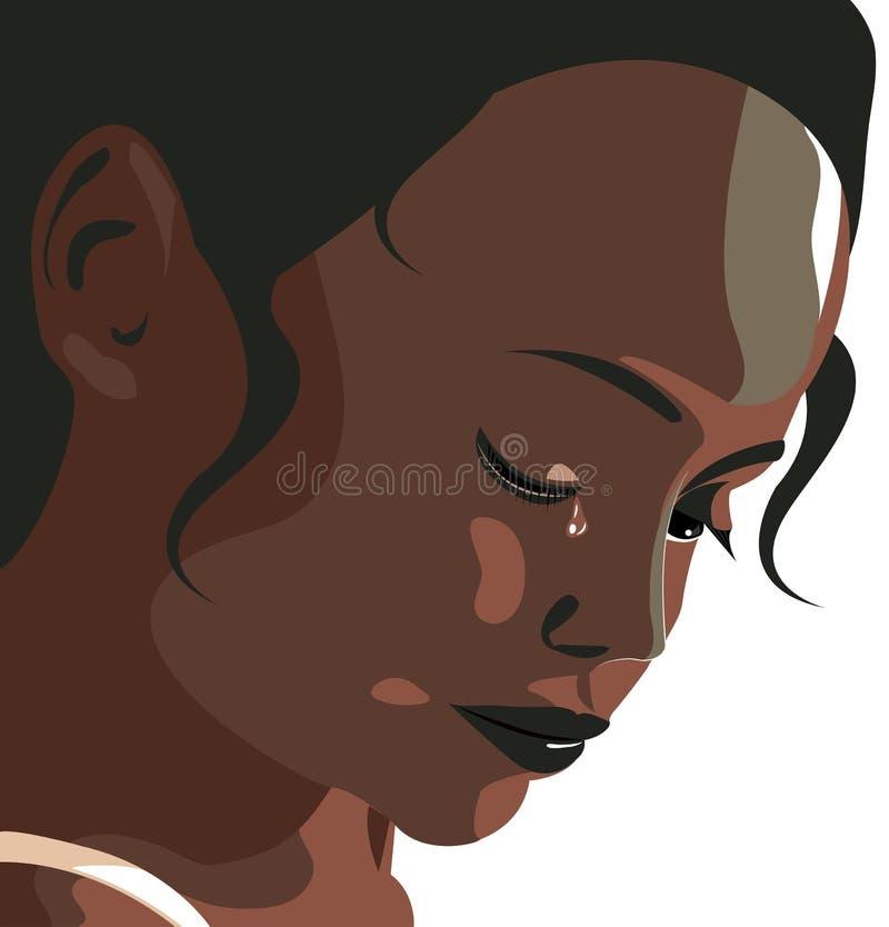 Menina que grita, depressão, mau trato, batida, menina, violência contra mulheres ilustração royalty free