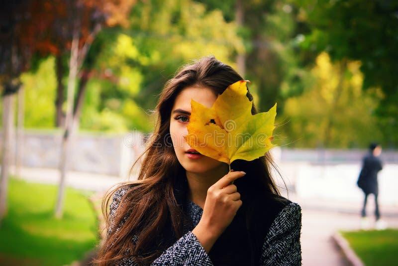 Menina que guarda a folha amarela, olhando através do fundo do outono do furo fotos de stock