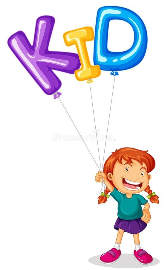 Menina que guarda o balão para a criança da palavra ilustração do vetor