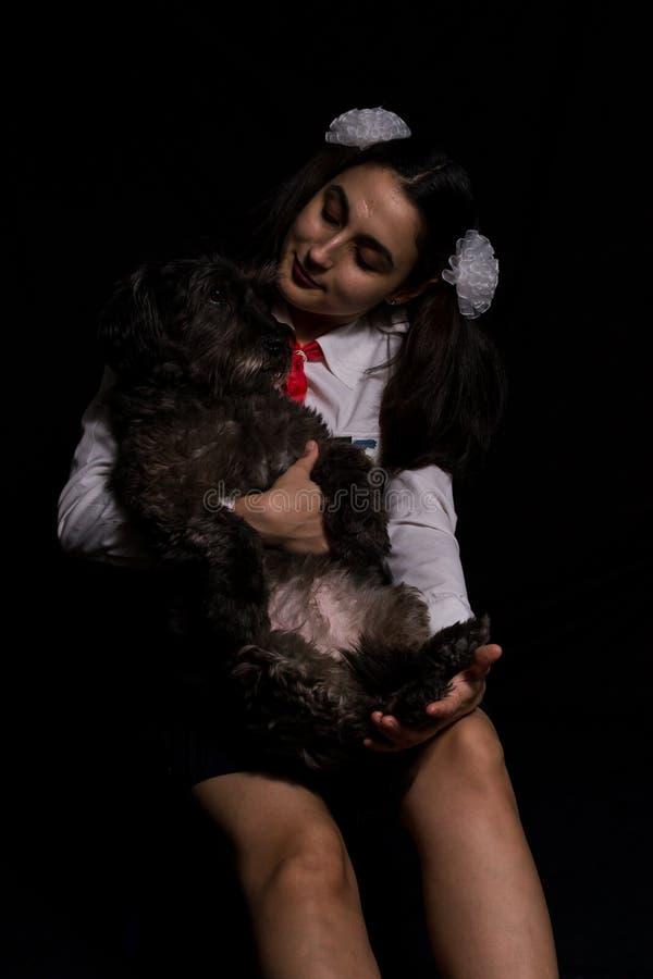 Menina que guarda o cão foto de stock