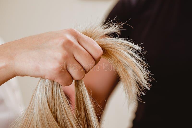 Menina que guarda seu cabelo em uma mão Cabelo louro da platina saudável em um conto Fim acima fotografia de stock
