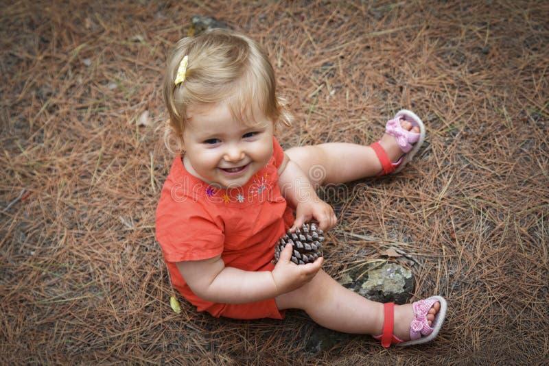 Menina que guarda um cone na floresta das madeiras foto de stock royalty free