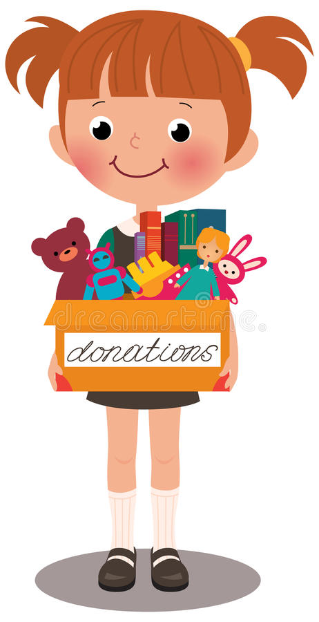 Menina que guarda uma caixa das doações ilustração royalty free