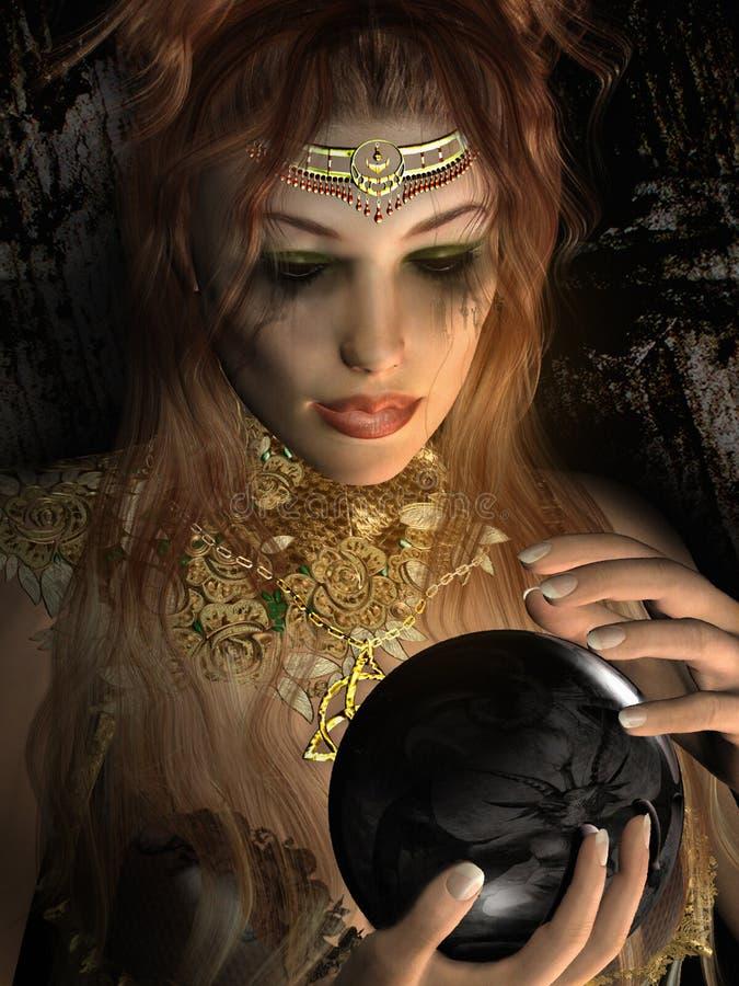 Menina que guarda uma esfera preta ilustração royalty free