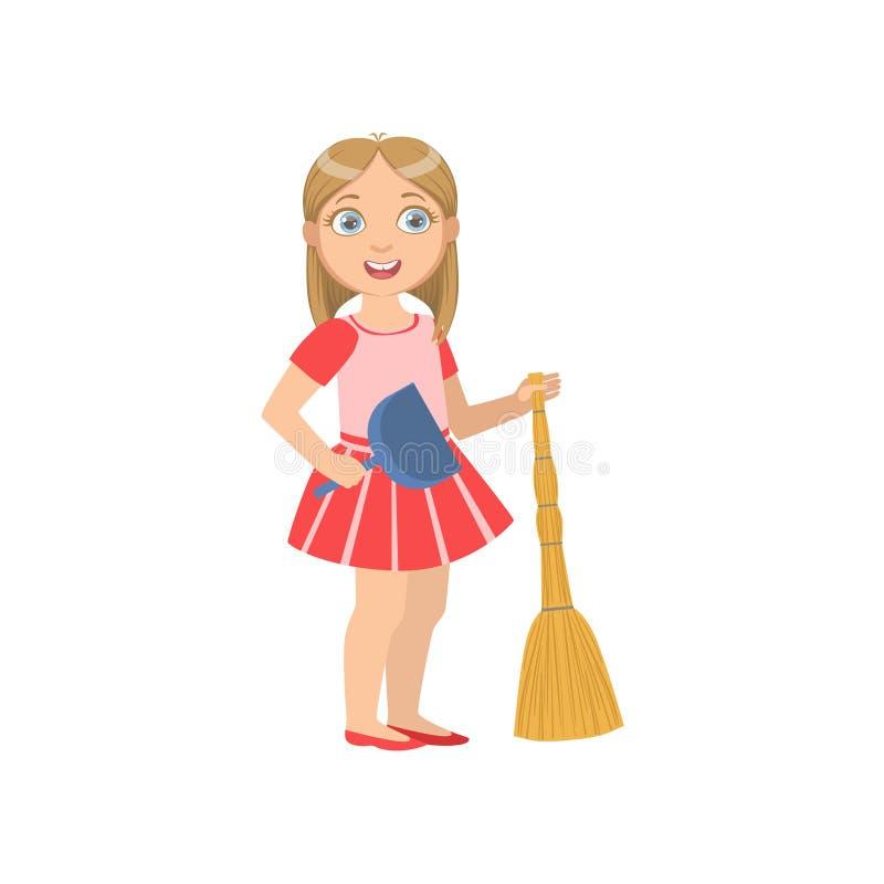 Menina que guarda a vassoura e o espanador ilustração royalty free