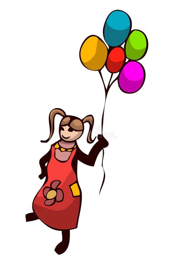 Menina que guardara balões ilustração do vetor