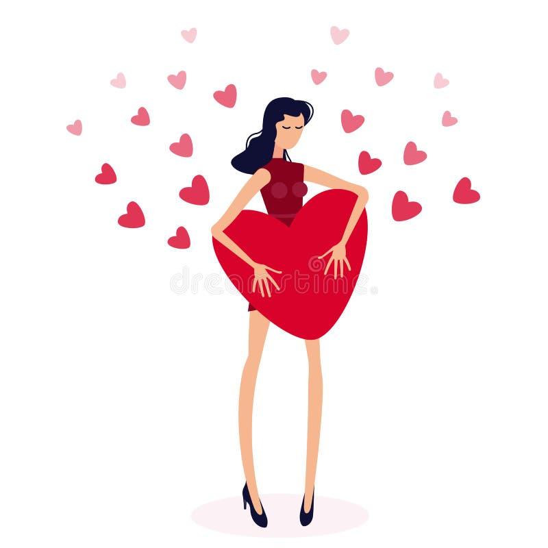 Menina que guardara o coração vermelho grande Os corações do Valentim no conceito do dia do amor ilustração stock