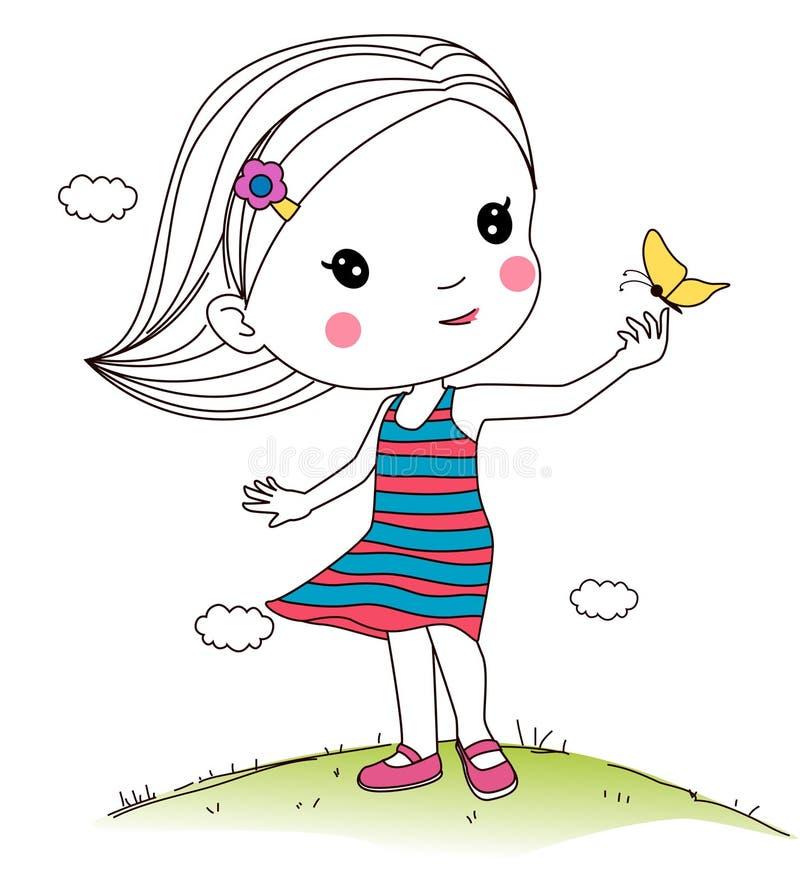 Menina que joga a borboleta ilustração do vetor