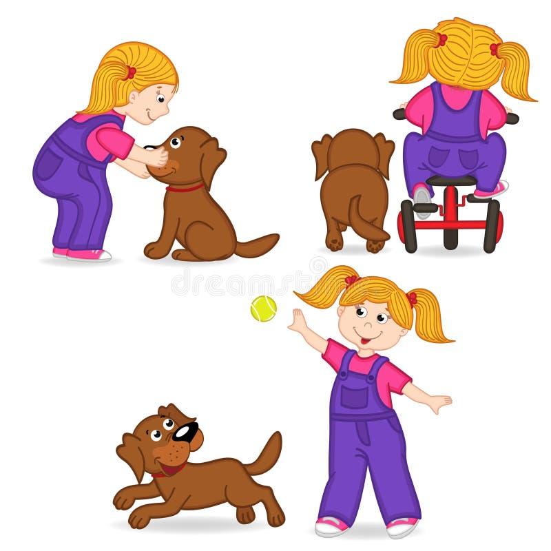 Menina que joga com cão ilustração royalty free