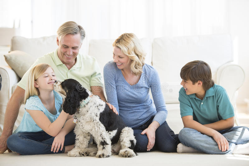 Menina que joga com cão quando família que olha a fotografia de stock royalty free