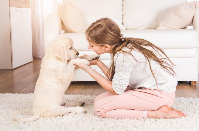 Menina que joga com cachorrinho do perdigueiro foto de stock royalty free