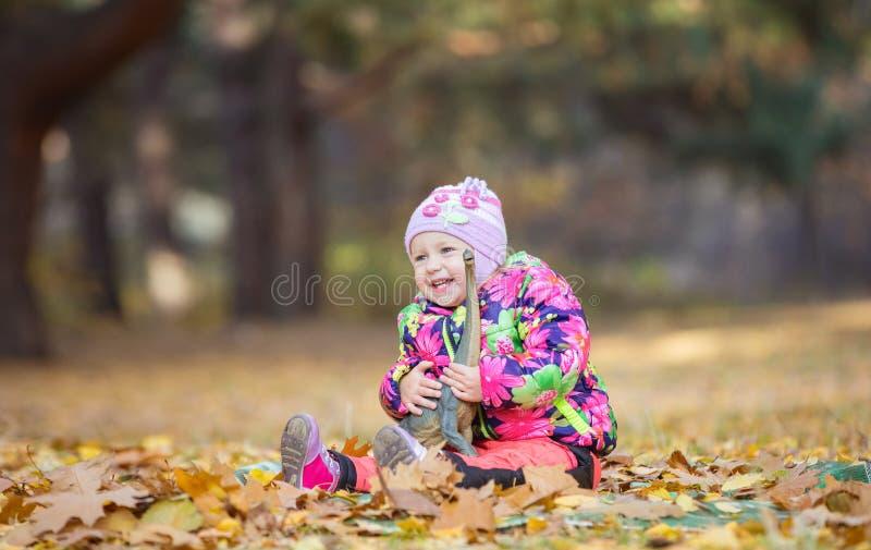 Menina que joga com o dinossauro do brinquedo no parque do outono imagens de stock royalty free