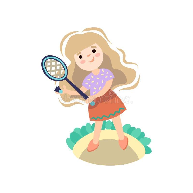 Menina que joga com raquete de tênis Criança que começa o jogo com raquete de tênis, esporte do tênis das crianças do verão ilustração stock