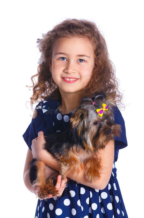 Menina que joga com seu yorkshire terrier fotografia de stock
