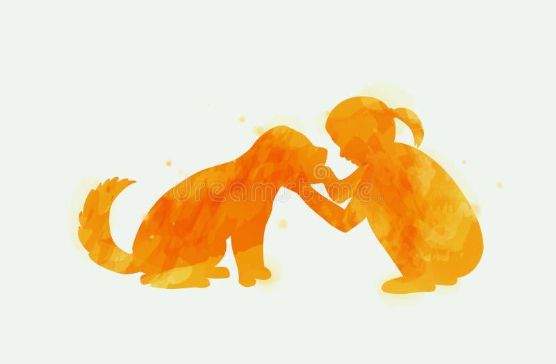 Menina que joga com a silhueta do cão no fundo da aquarela O conceito da confiança, da amizade e dos cuidados dos animais de esti ilustração royalty free