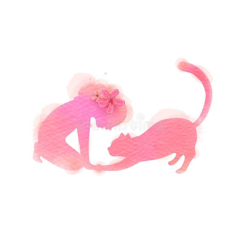 Menina que joga com a silhueta do gato no fundo da aquarela O conceito da confian?a, da amizade e dos cuidados dos animais de est ilustração royalty free