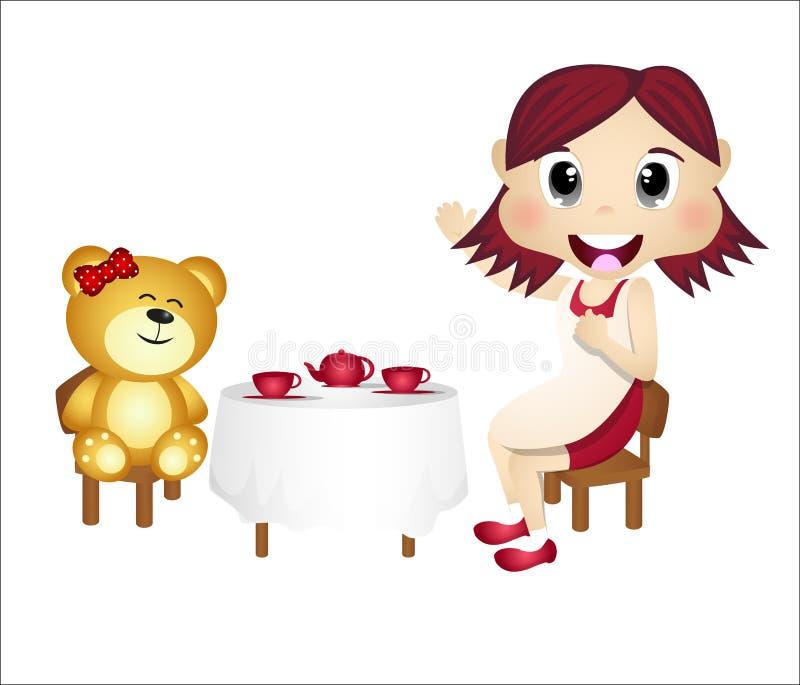 Menina que joga com urso de peluche ilustração stock