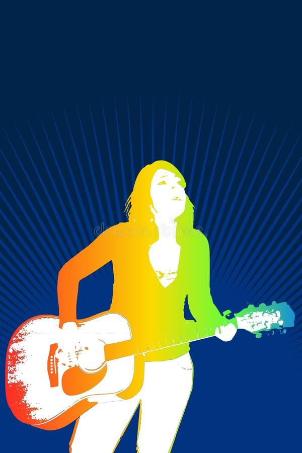 Menina que joga a guitarra ilustração do vetor