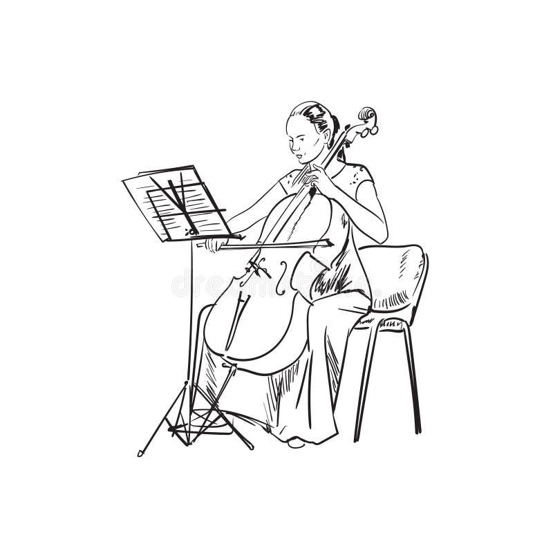 Menina que joga a ilustração do vetor do violoncelo ilustração stock