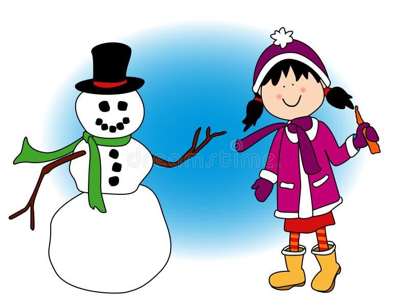 Menina que joga na neve ilustração do vetor