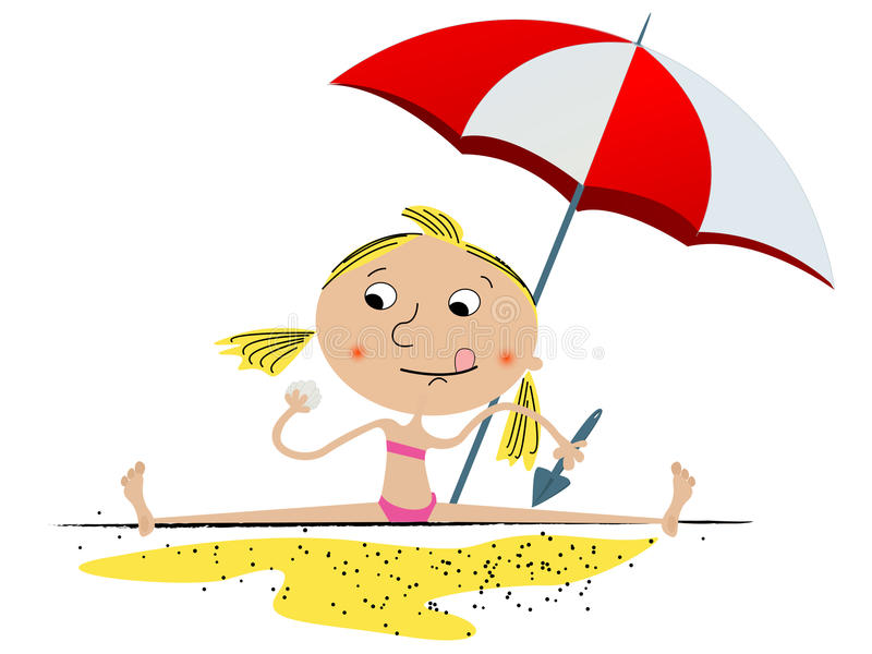 Menina que joga na praia ilustração do vetor