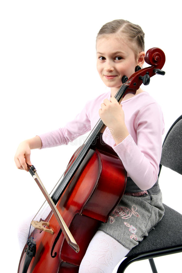 Menina que joga no violoncelo imagens de stock royalty free