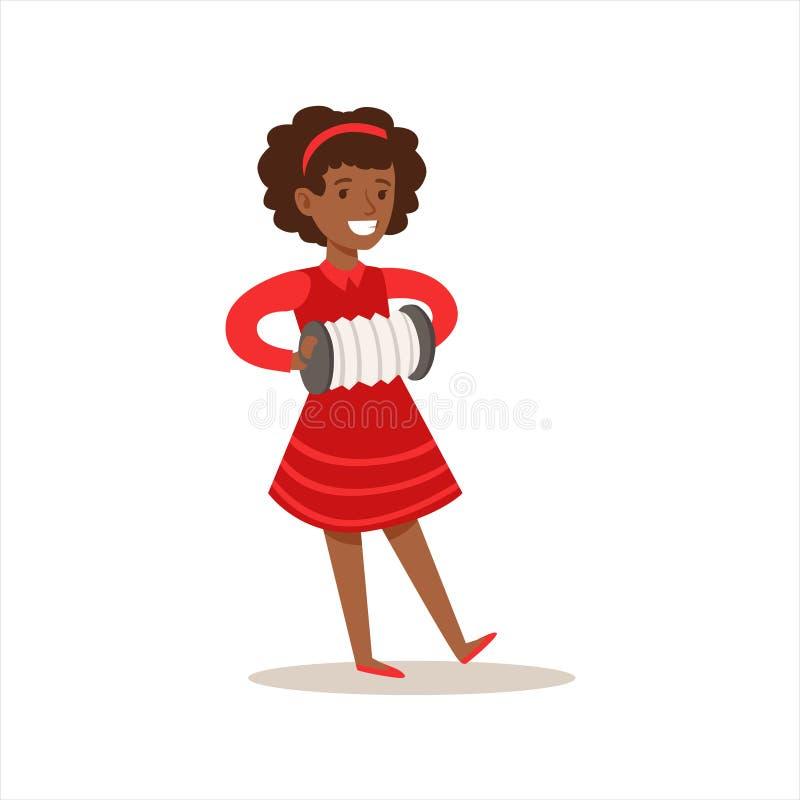 Menina que joga o acordeão, artes praticando da criança criativa em Art Class, crianças e a ilustração temático da faculdade cria ilustração do vetor
